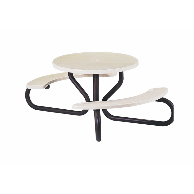 Round Picnic Table Wheelchair Accessible Available In White Ivory And Beige Fibergl Colors